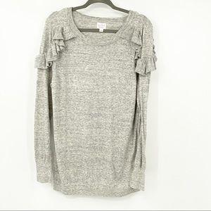 Isabel Maternity Gray Ruffle Shoulder Sweater